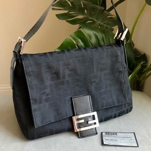FENDI Logo Mamma Zucca Baguette Bag Purse Black
